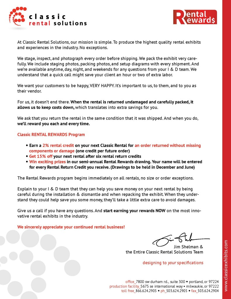 Distributor Rental Rewards Letter