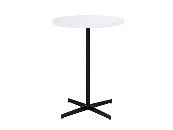 "30"" Round Bar Table w/ Blue Top and Silver Post and Base
