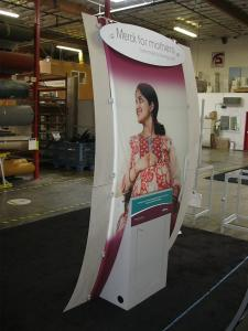 Custom Kiosk with Recycled Tension Fabric Structure, Eco Panel Locking Storage, and Eco Glass Wing Accents -- Image 2
