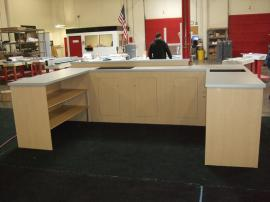 Custom Modular Laminate Counters with Locking Storage and Shelves for Island Exhibit -- Image 1