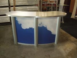 MOD-1183 Modular Oval Reception Counter with Two Doors and Locking Storage -- Image 1