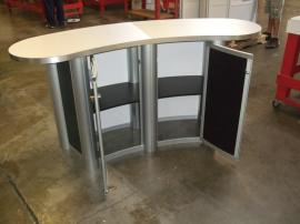 MOD-1183 Modular Oval Reception Counter with Two Doors and Locking Storage -- Image 2