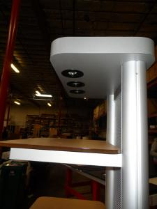 MOD-1253 Two-sided Kiosk with Base, Shelves, and Puck Lights -- Image 3