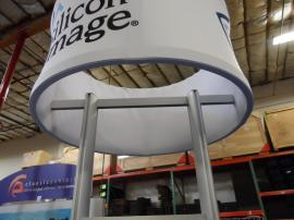 Custom Round Kiosks with Tension Fabric Header and Storage -- Image 2