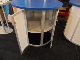 Custom Round Kiosks with Tension Fabric Header and Storage -- Image 3