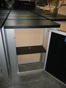 RENTAL:  (60) RE-1227 Rectangular Counters and (4) RE-1202 Counters with Locking Doors,  Internal Shelves, Laminated Infills, and Pegboard Back Panels for Ventilation -- Image 4