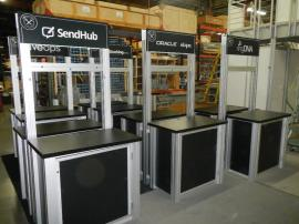RENTAL:  RE-1233 Double-Sided Rectangular Counter Kiosks with Locking Doors and Interior Shelves -- Image 1