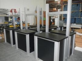 RENTAL:  RE-1233 Double-Sided Rectangular Counter Kiosks with Locking Doors and Interior Shelves -- Image 2