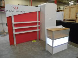 Custom eSmart with 10x10 Conversion.  Includes Large AERO Header, Storage Closet, Product Shelves, and Custom Base-lit Display Case -- Image 3