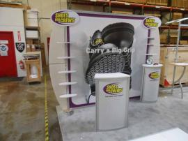 Custom eSmart with Product Shelves, Locking Storage Counters, and Large Tension Fabric Graphic. Shown with ECO-20C Podium