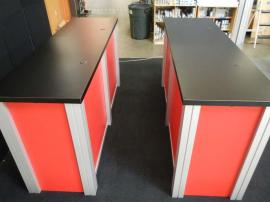 (2) RE-1207 Large Rectangular Counters with Red Sintra Infill Panels, and Custom Velcro Attached Doors on Ends -- Image 2