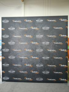 RENTAL:  8 x 10 Exhibit with SEG Fabric Graphic, and RE-1234 Double-Sided Lightbox -- Image 1