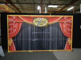 RENTAL: Extrusion Backwall with SEG Fabric Graphics and (4) Clear Acrylic Shelves -- Image 1