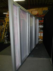 RENTAL: Extrusion Backwall with SEG Fabric Graphics and (4) Clear Acrylic Shelves -- Image 4