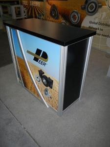 RENTAL:  Custom Inline Exhibit with (2) RE-502 Display Cases, Halogen Arm Lights, Tension Fabric Graphics, Sintra Header and Infill Graphics -- Image 4