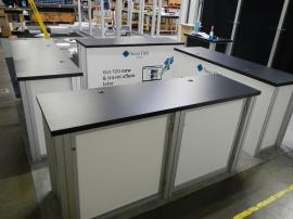RENTAL:  (4) RE-1207 Rectangular Counters with Locking Doors and Interior Shelves. Sintra Infill Panels and Graphics -- Image 2