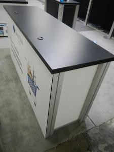 RENTAL:  (4) RE-1207 Rectangular Counters with Locking Doors and Interior Shelves. Sintra Infill Panels and Graphics -- Image 3