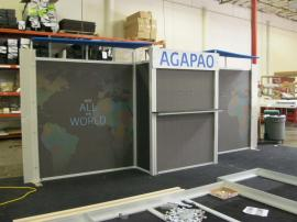 Modified eSmart ECO-2044 Sustainable Exhibit with LED Luminator Lighting, Custom Header and Pillowcase Graphic -- Image 1
