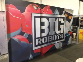 "RENTAL: (2) Exhibit Wall Structures with SEG Fabric Graphics, (3) RE-1229 Large Monitor Kiosks, 60"" Monitor, (2) 42"" Monitors, (3) Sound Bars, and (3) DVD Players -- Image 2"