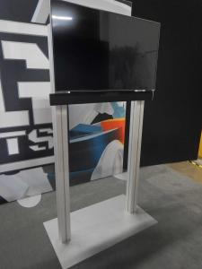 "RENTAL: (2) Exhibit Wall Structures with SEG Fabric Graphics, (3) RE-1229 Large Monitor Kiosks, 60"" Monitor, (2) 42"" Monitors, (3) Sound Bars, and (3) DVD Players -- Image 3"