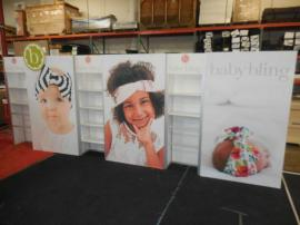 Custom Modular Inline Exhibit with Shelves and SEG Fabric Graphics