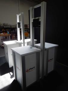 (2) Double-Sided Rental Kiosks with RE-1219 Square Pedestals with Locking Doors