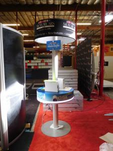 Custom Retail Monitor Stand Kiosk with Graphic Canopy and LED Perimeter Lighting