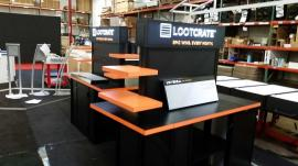 Custom Double-sided Kiosks/Monitor Stand with Shelves and Storage