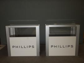 RENTAL: (2) RE-502 Small Display Cases with Lighting and Sintra Infill Graphics