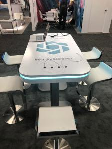 MOD-1439 (RE-708) Charging Table with Graphic Branding, LED Perimeter Lights, and (8) USB Ports. Available for Purchase or Rental