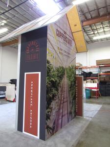Custom Hybrid Island: 16 ft Tower with a Backlit Fabric Graphic on One Side and a SEG Fabric Graphic on the Other Sid