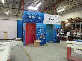 Custom Curved Gravitee Modular Island with Curved Panels and Fabric and Direct Print Graphics