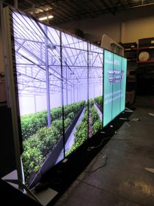 Custom Eco-Systems Sustainable Inline with Double-sided Backlit Graphics, Aero Pillowcase Graphic Accent, Monitor Mount, and Product Arch for Hanging Grow Lights