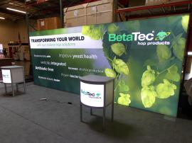 Modified ECO-45C Podium and 10 x 20 Backlit SEG Recycled Fabric Graphic