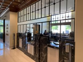 Customized Powder-coated Safety Dividers for a Bank Desk and Teller Windows