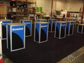 Custom Modular Pedestals with Wood Bases and Locking Storage -- Image 1