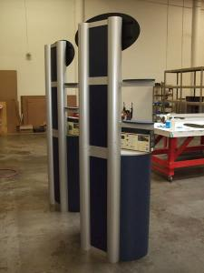Two Custom Kiosks with Locking Storage and Shelf