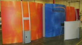 10' x 30' Euro LT Hybrid Exhibit LTK-5302 with Custom Vinyl Graphics and Modified MOD-1160 Workstations