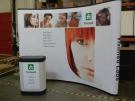 EO-04C Quadro EO Pop Up Display with Mural Graphics and Case to Counter Conversion