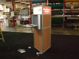 Modular Triangle Kiosk with (2) MOD-200 Laptop Lockboxes and Backlit Headers -- Image 3