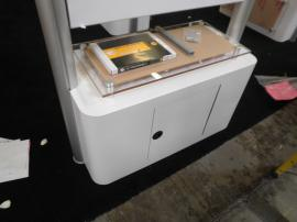 Custom Double-sided Kiosk/Workstation with Locking Storage and Silicone Edge Fabric Graphics -- Image 3