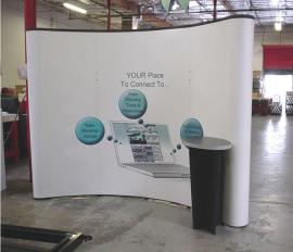 10' Quadro S Pop Up Display with (2) Monitor Mounts and Attached Workstation