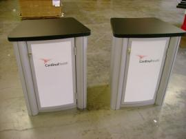 MOD-1201 Visionary Designs Tradeshow Pedestals--Front and Back (See also MOD-1188)