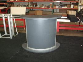 Custom Kidney-shaped Counter with Locking Storage -- Image 1
