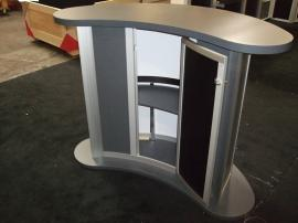 Custom Kidney-shaped Counter with Locking Storage -- Image 3