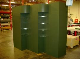 Euro LT Modular Laminate Wall with Shelves and Downlighting