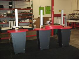 (3) LTK-1139 Modular Workstations with Locking Storage and (3) Re-configurable Pedestal Style Counter Tops -- Image 1
