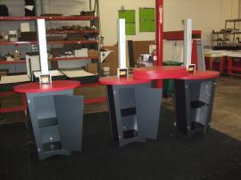 (3) LTK-1139 Modular Workstations with Locking Storage and (3) Re-configurable Pedestal Style Counter Tops -- Image 2
