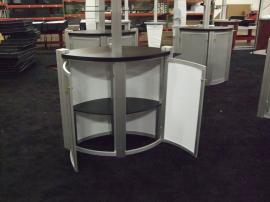 Trade Show Kiosks and Counters with Tension Fabric Header (ring), Plex Shelves, and Storage -- Image 2