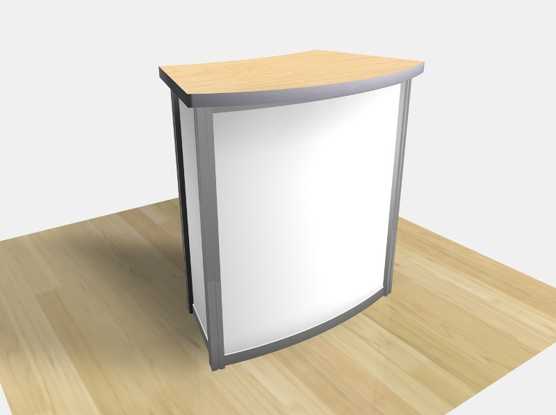 Exhibition Booth Counter : Exhibit design search re small curved counter